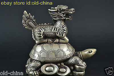 Collectible China Old Culetre Tibet Silver Kylin And Turtle Lucky Statue Decor
