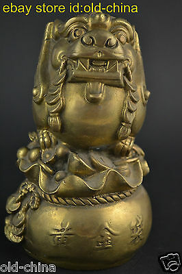 China Collectible Old Copper Cast Pixiu (Son Of Dragon) Summon Wealth Statue