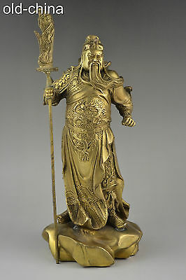 China Collectible Decor Handwork Old Copper Carve Guanyu War Power Statue Noble