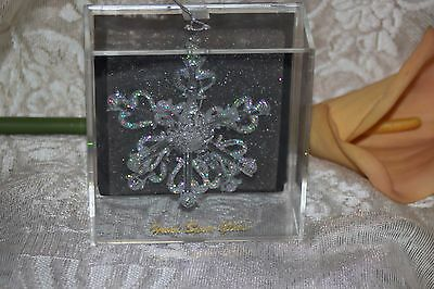 Unique Treasures Hand Spun Glass Christmas Snowflake Ornament NIB 3.25""