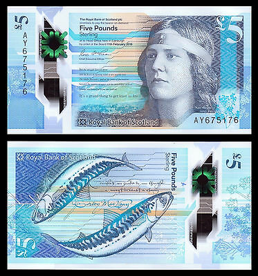 Royal Bank of Scotland 5 Pounds £5, 2016, P-New, Polymer, UNC  New Design