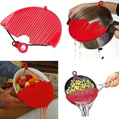 Red Large Expandable Strainer Just Lock On & Strain Better Strainer Practical SC