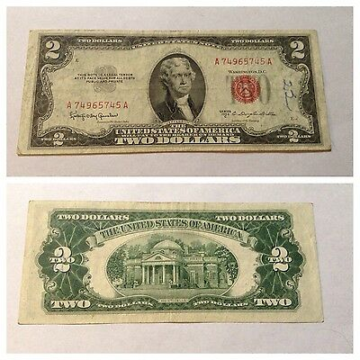 Vintage $2 Usn 1953-C United States Note Jefferson Red Seal Two Dollar Bill
