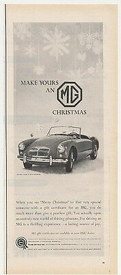 1958 BMC MG Roadster Convertible Merry Christmas Ad