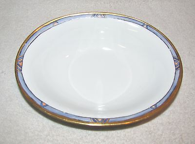 Tirschenreuth, Bavaria, Germany P.t.--Oval Serving Bowl--Blue And Gold Rim