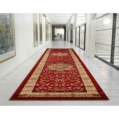 Hall Runner Rug Traditional Designer Red 4 Metres Long FREE DELIVERY