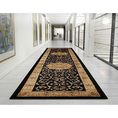 Hall Runner Rug Traditional Designer Black 3 Metres Long FREE DELIVERY