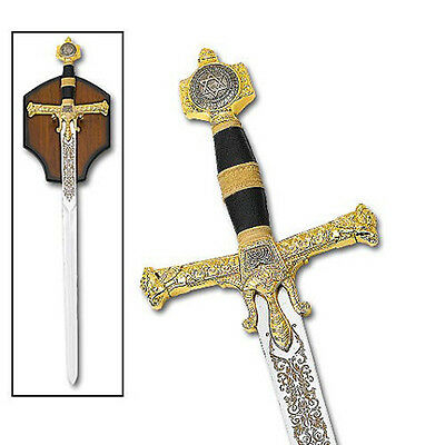 Intricate Laser Etched Medieval Sword Of King Solomon- Black with Gold Detailing