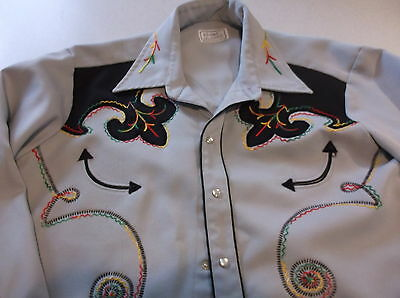 H BAR C beautiful embroidered XL Western MEN'S SHIRT - must see! VINTAGE rare!