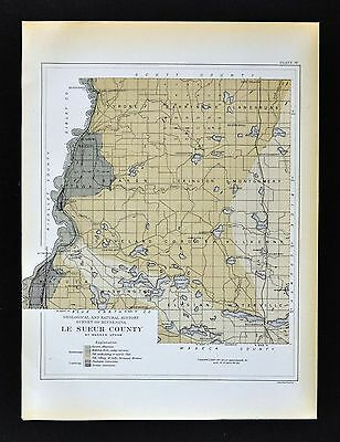 1901 Minnesota Geological Map - Le Sueur County - Geology Ottawa Waterville MN