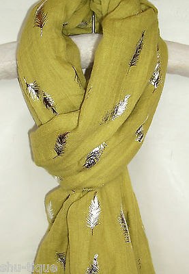 New Womens Off Green Mustard  Scarf Silver Feather Shawl Wrap Day Wear Ladies