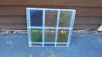 Vintage Leaded   Glass  Glass  Panel  15 X 16 by Carl Lehfeldt Art Glazier