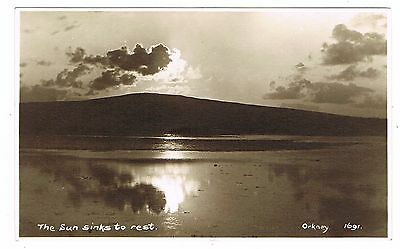 Real Photo Postcard - The Sun Sinks to Rest - Sunset Orkney Islands Scotland