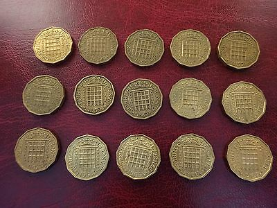 Elizabeth 11 Threepence Set 1953 - 1967  Nice  Selected Condition