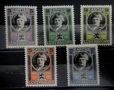 LUXEMBOURG 1926 SERIE OEUVRES SOCIALES n° 182 à 186 Neufs** TTB - MNH-  r10b150