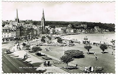 Real Photo Postcard - Golf Putting Green & Argyle St - Rothesay Bute Scotland