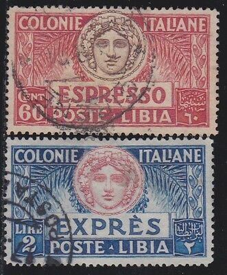 ITALIAN COLONIES LIBYA 1923 Special Delivery set 2v / Used / G84802 B3