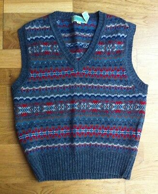 VINTAGE 1970s DOES 1940s FAIRISLE MENS TANK TOP - FRENCH CONNECTION SIZE MEDIUM