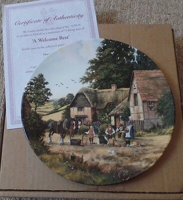 Royal Doulton China Plate - A Welcome Rest - Harvest Home - Peter Kotka - Mib