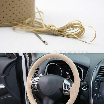 New Universal PU Leather Car Steering Wheel Cover 38cm With Needles and Thread