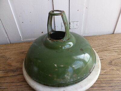 Vintage large green enamel industrial light shade