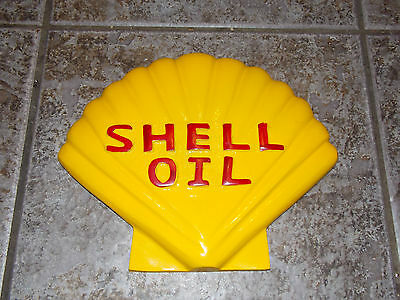 Superb Hand Painted Wall Mounting Cast Aluminium Shell Oil Advertising Sign