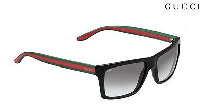 GUCCI Sunglasses 1013/S 51N PT Shiny Black Green & Red Gradient Grey 56mm