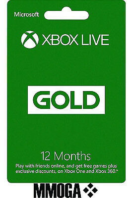 12 Months Xbox Live Gold Subscription Key Microsoft Membership 360 One NEW EU/UK