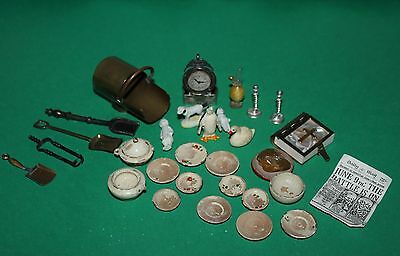 Vintage Dolls House Accessories Brass Coal Scuttle German Treen c.1900 Clock +++