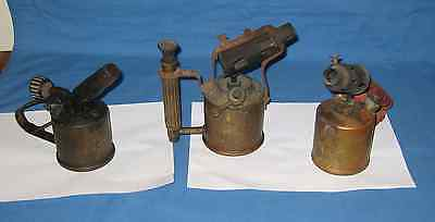 3 Old Brass Blow Torches 2 Paraffin, 1 Petrol