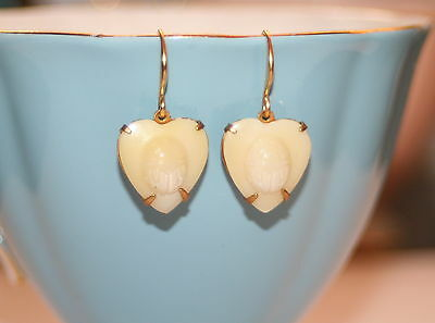 Vintage Egyptian Ivory coloured glass heart scarab beetle raised relief earrings