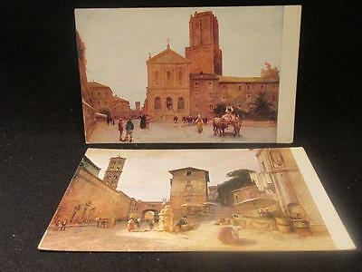 Roma 2 Vintage Color Postcards #42 Church of St Catherine & #53 Penitentiary