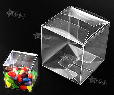 25pcs Wedding Transparent Clear Cube Favour Boxes Sweet Candy Cake Gift Bags