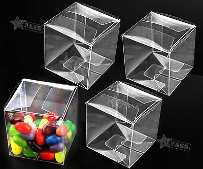 25/50pcs Wedding Transparent Clear Cube Favour Boxes Sweet Candy Cake Gift Bags