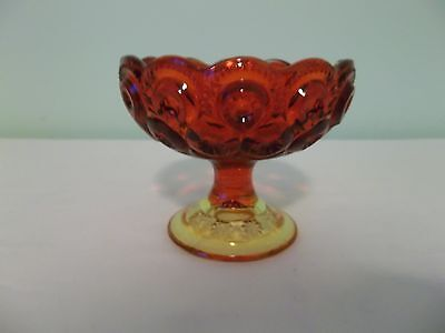 Vintage L.E. Smith Red Amberina Moon and Stars Scalloped Edge Candy Dish Compote
