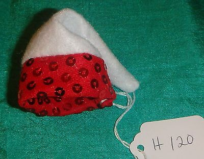 White Felt Cap with Red Spangled Band for Barbie Skipper Stacie Dolls H120