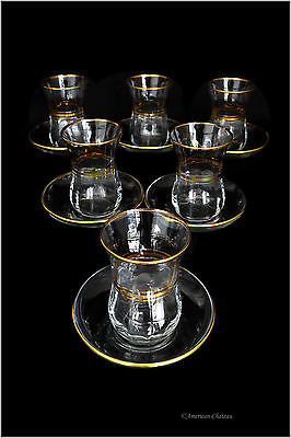Set 6 Heat Resistant Gold Accents 4oz Turkish Tea Coffee Cups Glasses W/ Saucers