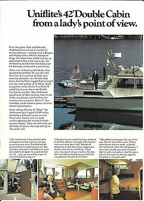 1975 Uniflite 42' Double Cabin Yacht 2 Page Color Ad