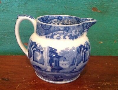 Vintage Copeland Spode's Pitcher, England, Italian, Blue And White, Castles,