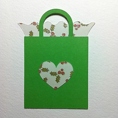 6 X Large Layered Gift Bag Die Cut Shapes-Christmas Present Holly