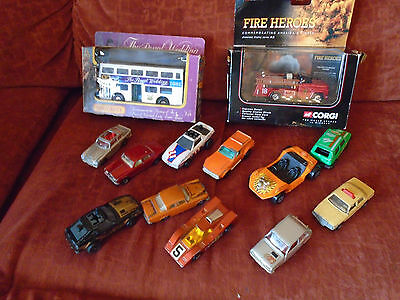 A small lot of vintage diecast toy cars, some boxed, inc matchbox & Majorette