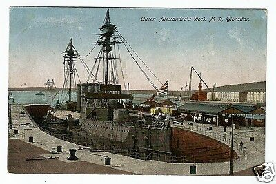 DHE Early Postcard, Warship in Queen Alexandra's Dock, Gibraltar