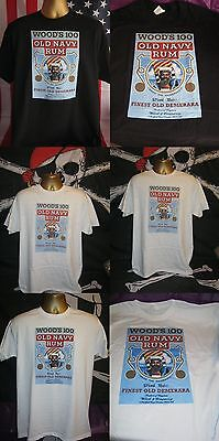 Wood's 100 Old Navy Rum Vintage Poster Print T Shirt-All Sizes In Three Colours