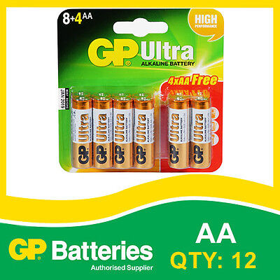 GP Ultra Alkaline AA Battery card of 12 (8+4) [MP3, CAMERAS GAMES CONSOLES]
