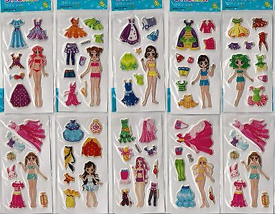 Fashion 10 sheets of stickers girls party loot bags fillers clothes changing