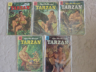 Dell Comics Tarzan 5 Issue Lot #75,77-79,81 1956  Painted Covers
