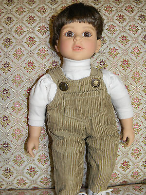 My Twinn Cuddly Brother doll brown hair /brown eyes-original overalls HTF face