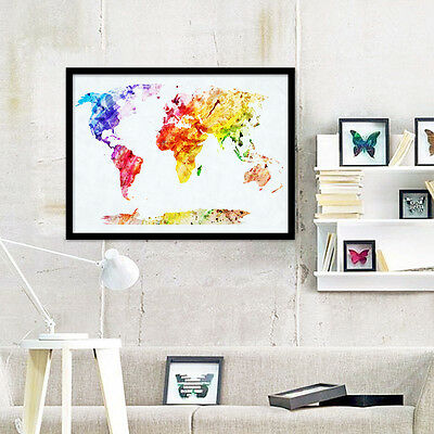 Unframed Canvas Prints Wall Art Painting Colorful World Map Home Room Decoration