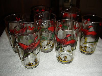 vintage pheasant drink glasses