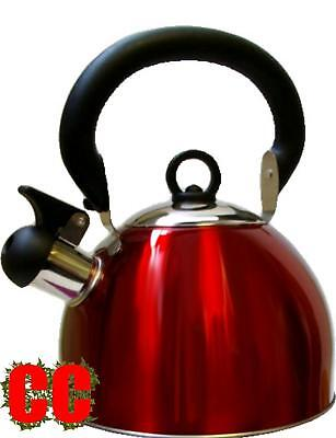 Whistling stainless steel kettle RED 2.5 Ltr Camping caravan whistle wistling